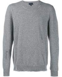 Lanvin Distressed Wool Cashmere Blend Knit Jumper Grey Brown White