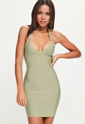Missguided Green Bandage Stud Strappy Bodycon Dress