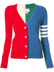 Thom Browne Classic V Neck Cardigan With Funmix Intarsia And 4 Bar Stripe In Cashmere Cashmere