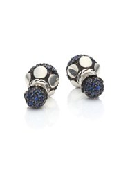 John Hardy Dot Blue Sapphire And Sterling Silver Double Sided Stud Earrings Silver Blue Sapphire
