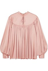 Co Gathered Stretch Sateen Blouse Pastel Pink