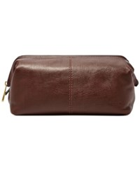 Fossil Framed Leather Travel Toiletry Shave Kit Dark Brown