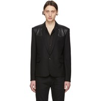 Saint Laurent Black Leather Chevron Western Blazer