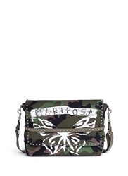 Valentino 'Rockstud' Butterfly Camouflage Print Messenger Bag Multi Colour