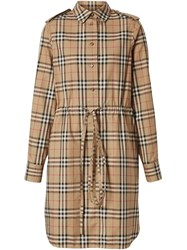 Burberry Vintage Check Drawcord Shirt Dress Neutrals