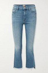 Mother The Insider Cropped Frayed High Rise Flared Jeans Blue