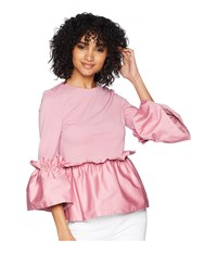 Ted Baker Sherrly Pleated Waist Crop Sleeve Top Dusky Pink Clothing