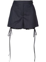 Vera Wang Striped Bloomer Detail Shorts Blue