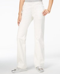 Armani Exchange White Wash Flare Leg Jeans Solid White