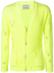 Laneus Destroyed Cardigan Yellow