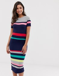 Oasis Bodycon Dress In Stripe Multi