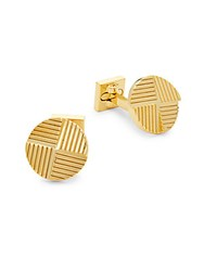 Ike Behar Round Etched Cufflinks Gold