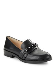 Karl Lagerfeld Yannick Mini Stud Chainlink Leather Loafers Black