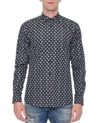 Dolce And Gabbana Multi Geo Print Long Sleeve Shirt Navy