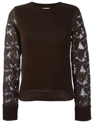 See By Chloe Lace Sleeve Sweater Green