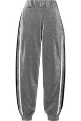 No Ka' Oi Ka'oi Attitude Striped Metallic Jersey Track Pants Silver