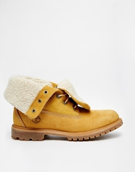 Timberland Authentics Teddy Fleece Fold Down Lace Up Boot Wheat