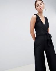 Ax Paris Wide Leg V Neck Jumpsuit Black