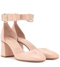 Red Valentino Patent Leather Block Heel Pumps Pink