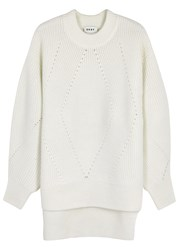 Dkny White Chunky Knit Wool Blend Jumper