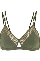 Elle Macpherson Body Net Mesh Trimmed Stretch Jersey Soft Cup Triangle Bra Army Green