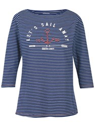 Fat Face Sail Away Breton Stripe T Shirt Navy