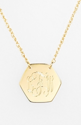 Jane Basch Designs Personalized Hexagon Pendant Necklace Gold
