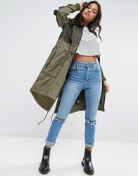 Asos Parka With Mesh Layer And Sleeve Detail Khaki Green