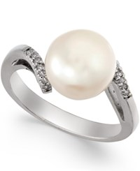 Macy's Diamond Accent Freshwater Pearl Ring 9Mm In Sterling Silver