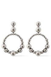 Elizabeth Cole Woman The Maddox Silver Tone Faux Pearl Earrings Platinum