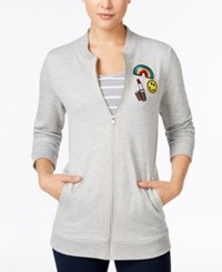 Almost Famous Juniors' Patch Trim Tunic Bomber Jacket Light Heather Grey
