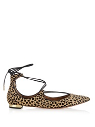 Aquazzura Christy Cheetah Print Calf Hair Flats