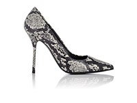 Pierre Hardy Women's Snakeskin Pointed Toe Pumps White Black White Black