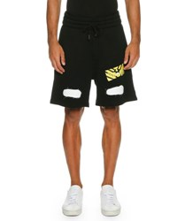 Off White Spray Paint Logo Sweat Shorts Black