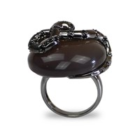 Bellus Domina Serpentine Cocktail Ring Silver
