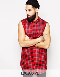 Reclaimed Vintage Longline Sleeveless Checked Shirt Red
