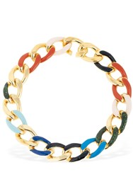 Missoni Chunky Enameled Chain Necklace Multicolor