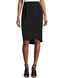 Magaschoni Signature Relaxed High Low Faux Wrap Skirt Black