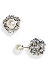Cara Women's Front Back Crystal And Imitation Pearl Earrings Silver