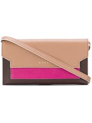 Marni Three Colour Gusset Wallet Nude And Neutrals