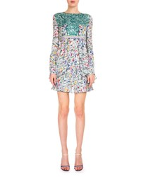 Mary Katrantzou Long Sleeve Flower Print Babydoll Dress Green