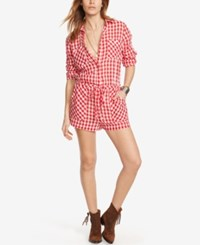 Denim And Supply Ralph Lauren Checked Romper Red