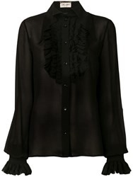 Saint Laurent Frill Detail Shirt Black