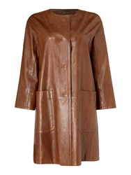 Max Mara Taverna Collarless Leather Coat Brown