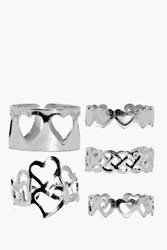 Boohoo Love Heart Adjustable Mixed Ring Pack Silver