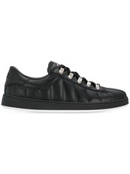 Balmain Quilted Lace Up Sneakers Black