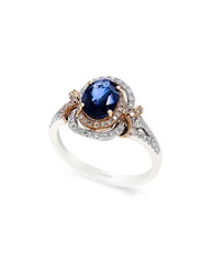 Effy 14K White And Rose Gold Sapphire And Diamond Ring Sapphire White Gold