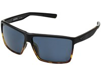 Costa Rincon Matte Black Shiny Tortoise Frame Gray 580P Athletic Performance Sport Sunglasses Blue