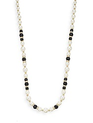 Ak Anne Klein Faux Pearl And Jet Stone Necklace Pearl Black