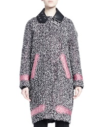 Balenciaga Spray Paint Inset Tweed Long Cocoon Coat